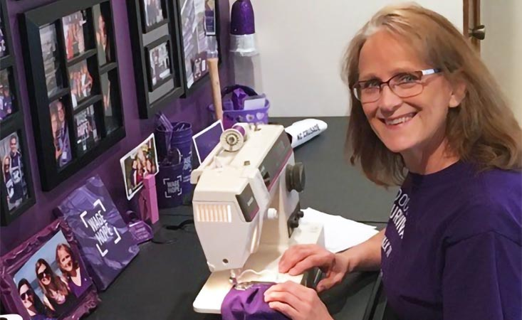 PanCAN volunteer uses PurpleStride T-shirts to sew masks for frontline responders