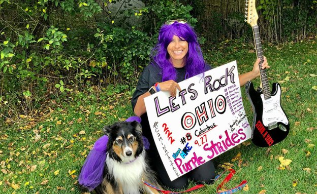 PurpleStride Columbus 2020 participant with dog
