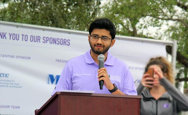 Dr. Jashodeep Datta, Assistant Professor of Surgery at University of Miami School of Medicine, Sylvester Comprehensive Cancer Center, speaks at PanCAN's PurpleStride Broward-Palm Beach in 2019.