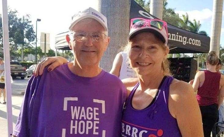 Mike Fitzpatrick and a fellow pancreatic cancer survivor competed in a Fun Run organized by a Boynton Beach running club in 2019.