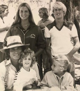 """Michael Landon with kids on """"Little House on the Prairie"""" set"""
