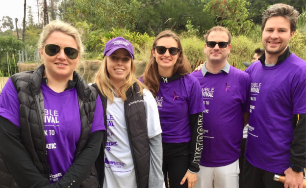 Pancreatic cancer survivor Liz Waldeck-Pinckert, second from left, at PanCAN PurpleStride 2019.
