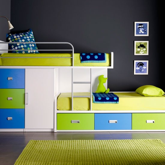Lime Green Blue Bunk Beds Pandas House
