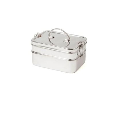 grote rvs lunchbox - rvs lunchtrommel met vakken - broodtrommel rvs lunchbox met vakken