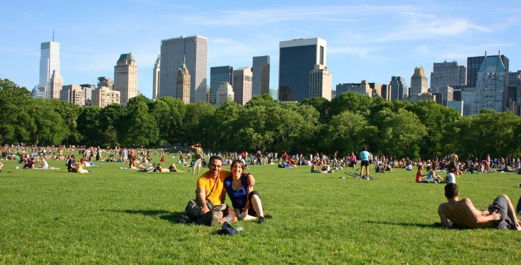 Le poumon vert de la ville, Central Park, un oasis de 4 km de long sur 1 de large,  au cœur d'une autre forêt : les skyscrapers