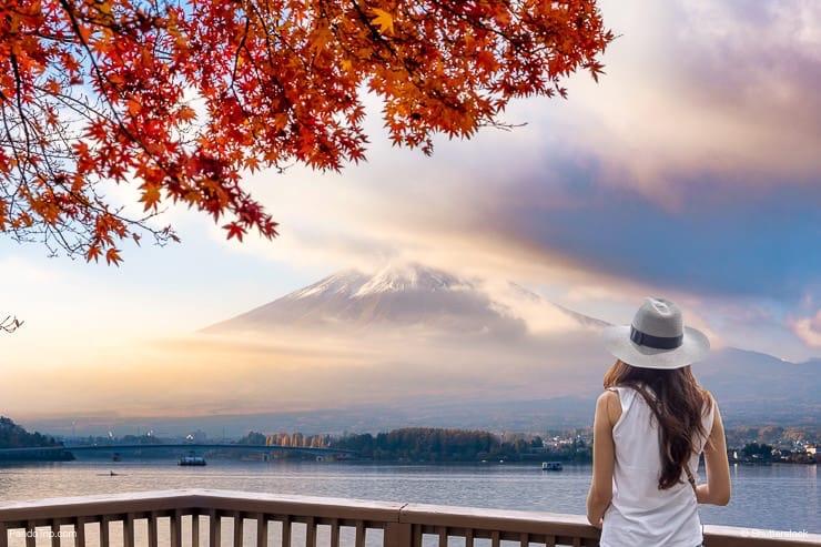 Woman looking at Mount Fuji, Japan