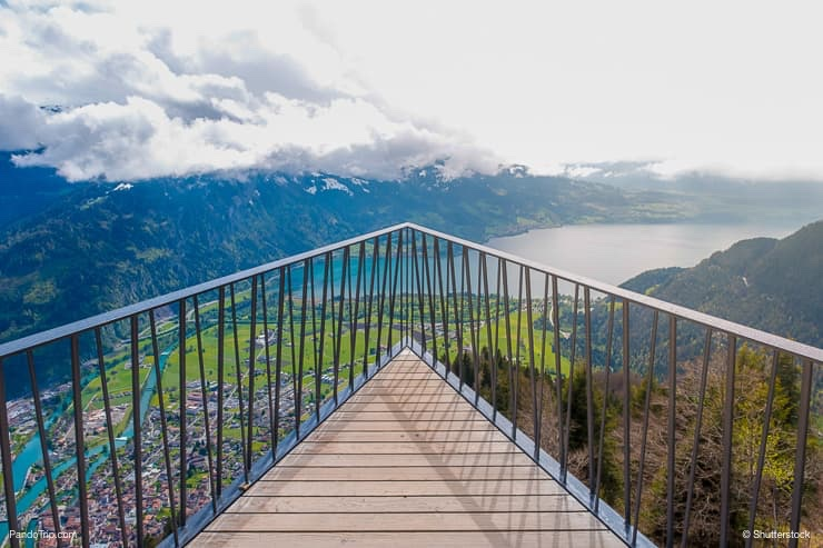 Aerial view of Interlaken and Swiss Alps from Harder Kulm View point