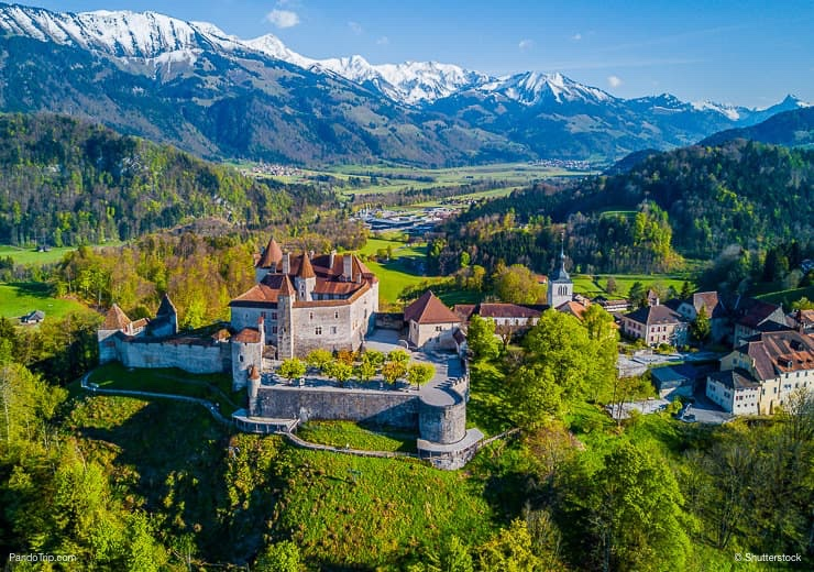 Drone View of the Gruyeres Castle, Switzerland