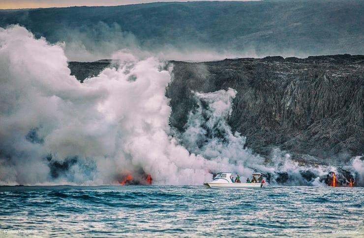 Kilauea volcano eruption boat tour in Hawaii Volcanoes National Park, Hawaii