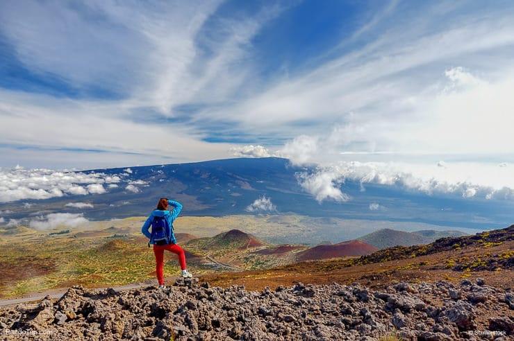Looking at Mauna Loa volcano on the Big Island of Hawaii