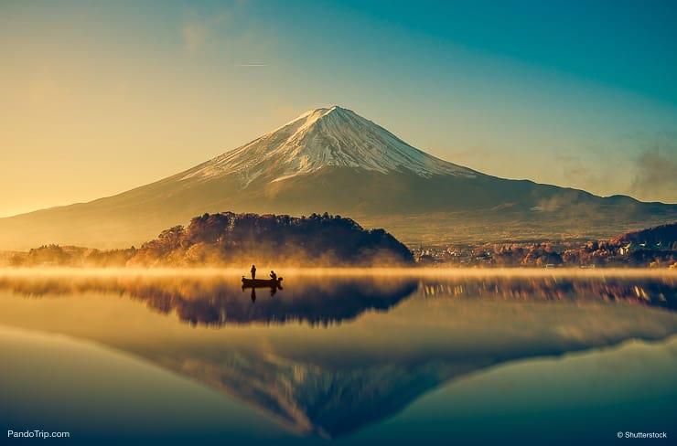 Mount Fuji and Lake Kawaguchi in Japan