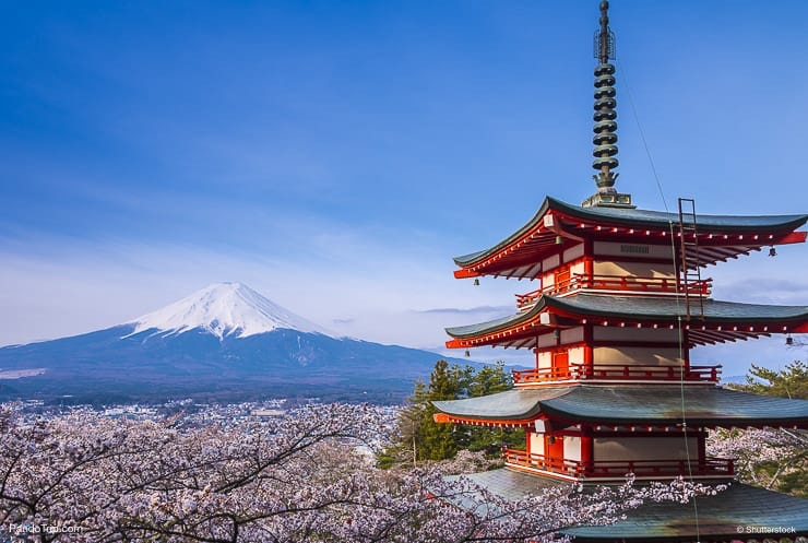 Red Pagoda with Mount Fuji in Japan