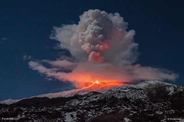 Volcano Etna eruption in Sicily, Italy