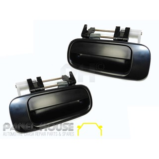Door Handle Pair Rear Black Outer Fits Toyota Camry 10