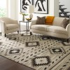 Navajo Rug Design - Natural Grey Black and Ivory area rug 2