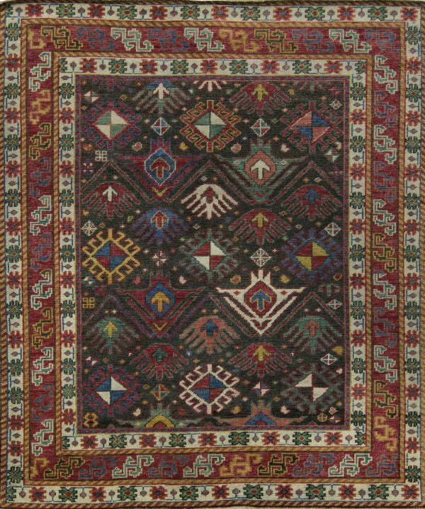 Area rug with Charcoal with Ivory Borders and Multicolored Accents