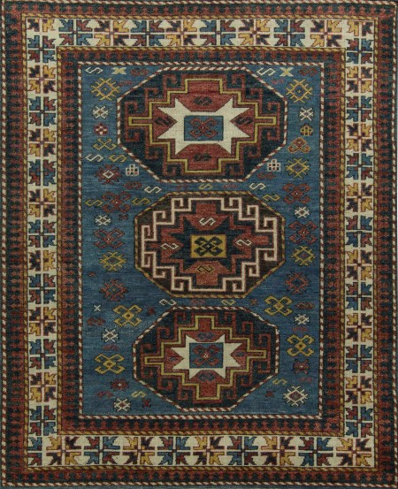 Aqua Blue with Ivory Border and Multicolored Accents - Area Rug