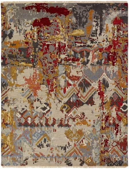 Flat Woven Wool Soumak Rug with Herringbone Texture on Both Sides