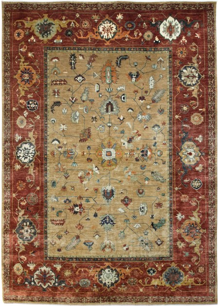 Bakshaish design - Vegetable Dyed in Rust and Camel area rug