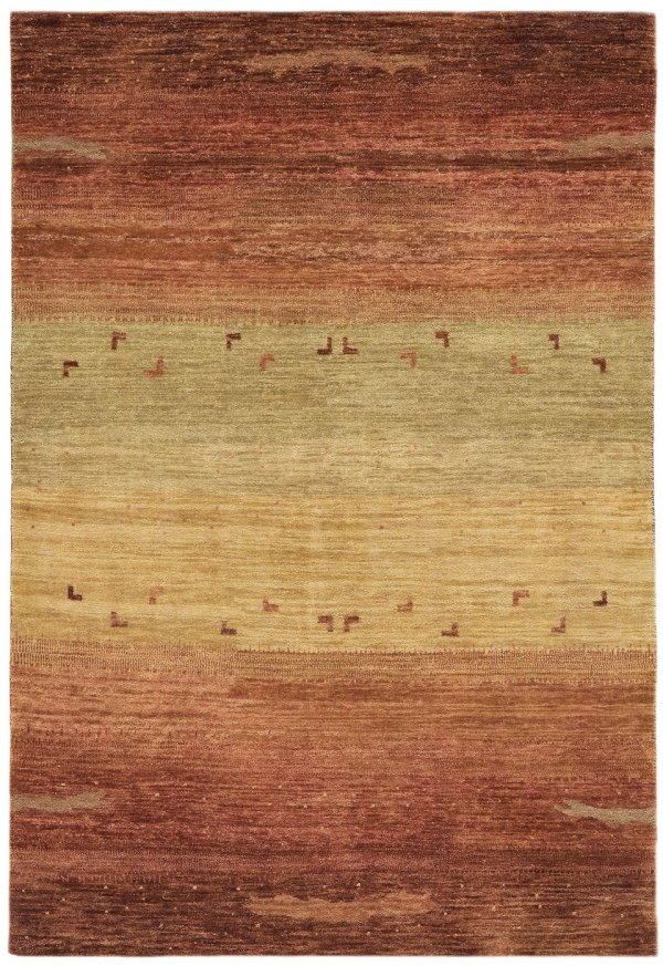 Gabbeh Design. Vegetable Dyed in Rust, Light Gold and Light Green