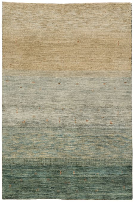 Gabbeh design - Vegetable Dyed in Teal and Light Tan