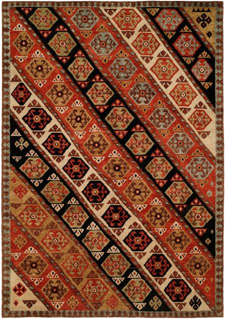 Nomadic Caucasian Design Multi Colored with Rust Black and Ivory area rug