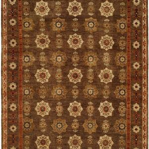 Camel Tan Field with Black Border and Rust Accents area rug