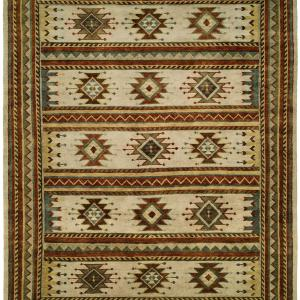 Nomadic Tribal Design - Multi Colored with Ivory Field