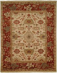 Ivory Field with Rust Red Border area rug
