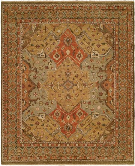Gold, Light Blue Rusty Red Field with Clay Colored Border area rug