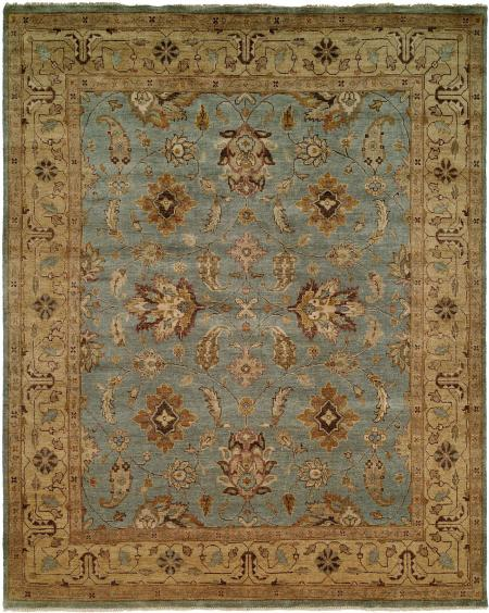 Light Blue Field with Tan Border area rug