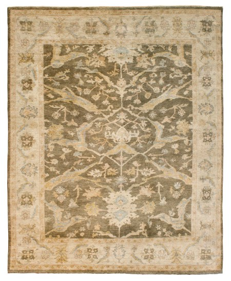 Faded Brown Field with Ivory Border area rug