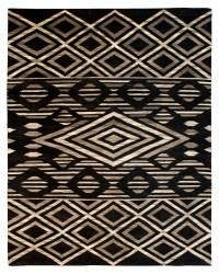 Southwestern Tribal Design - Ivory and Black area rug