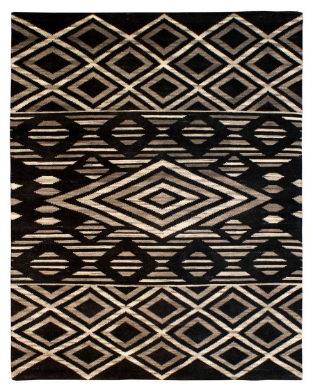Southwestern Tribal Design - Ivory and Black area rug