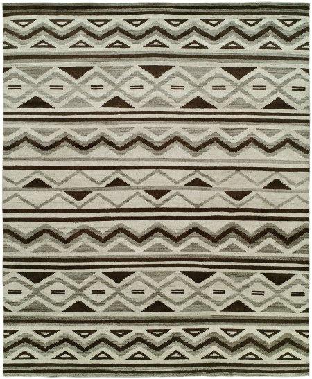 Southwestern Tribal Design - Natural Grey Black and Ivory area rug