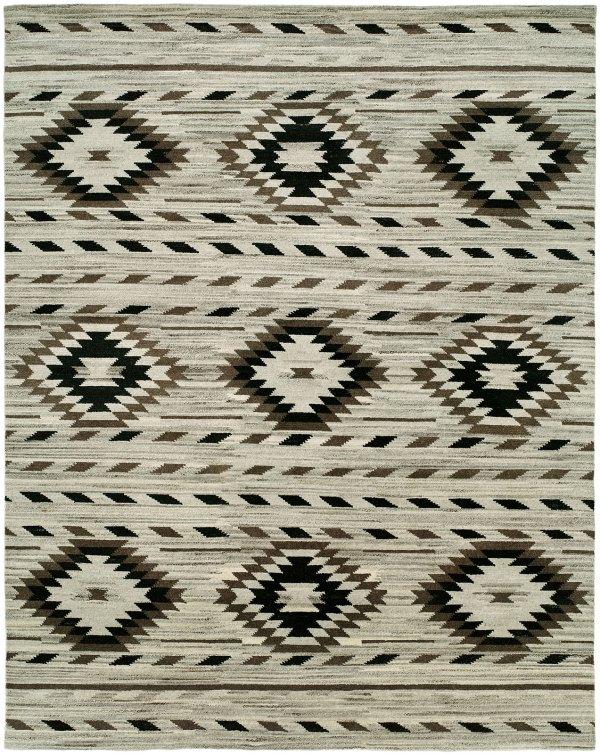 Navajo Rug Design - Natural Grey Black and Ivory area rug