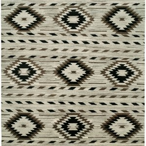 Navajo Rug Design - Natural Grey Black and Ivory area rug
