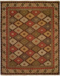 Nomadic Tribal Design - Multi Colored with Brown Border area rug