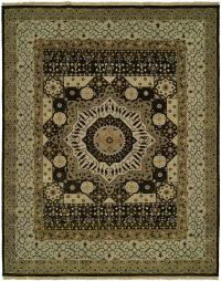 Tan and Ivory Border with Dark Java Brown Field area rug
