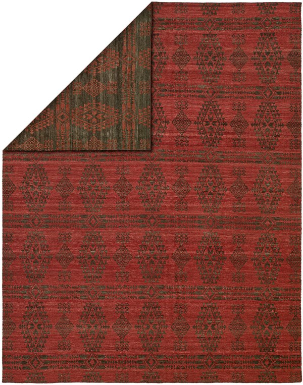 Charcoal Red area rug
