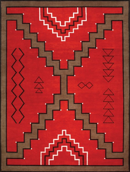 Navajo Rug Design. Red and Brown with Black and Ivory Accents area rug