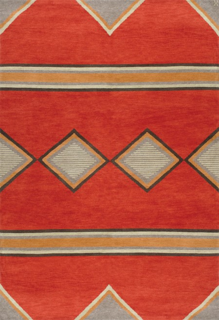 Navajo Rug Design - Red and Grey with Multi Colored Accents area rug