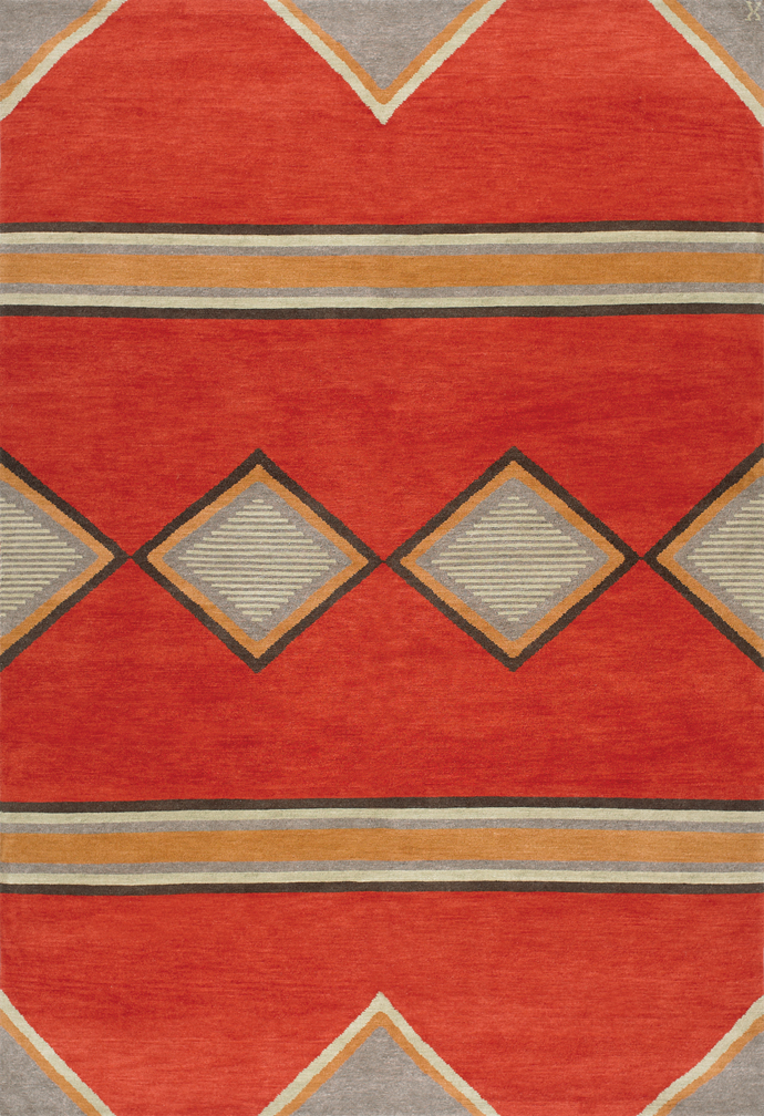 Navajo Rug Design Red And Grey With Multi Colored Accents Area Rug