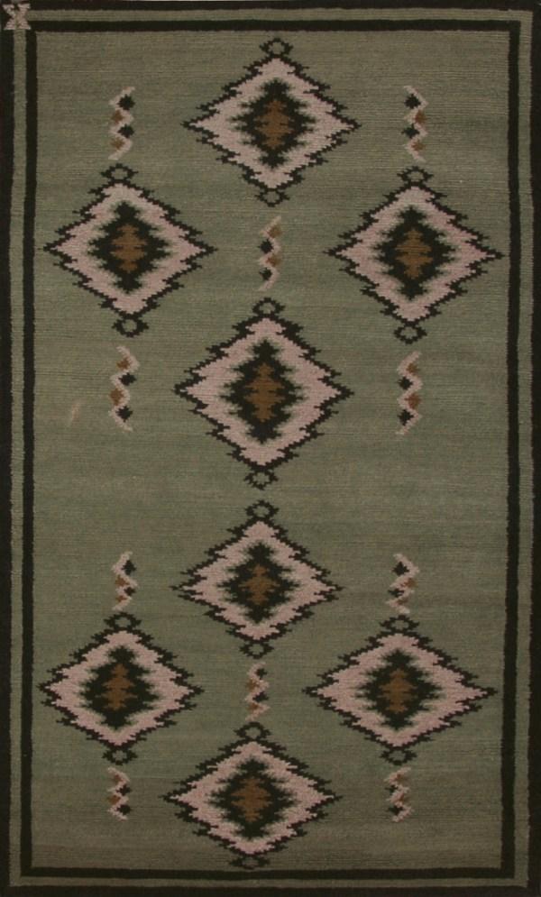 Navajo Blanket Design - Sage Green and Ivory with Black Border