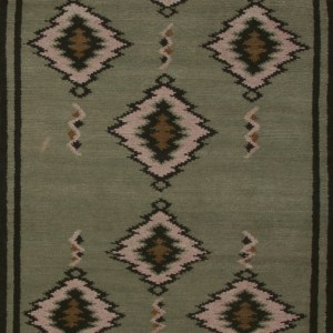 Navajo Blanket Design - Sage Green and Ivory with Black Border