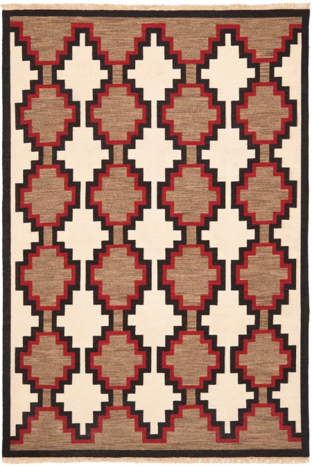 Navajo Rug Design - Ivory with Grey Red and Black