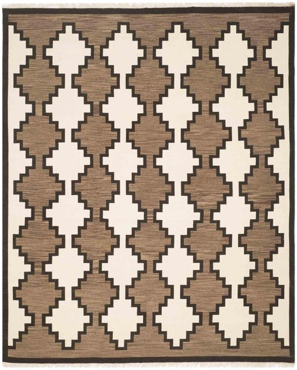 Navajo Rug Design - Ivory Grey and Black area rug