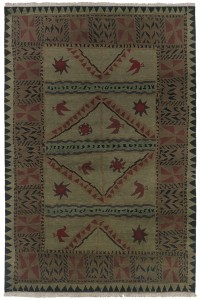 Sage Green with Rust Eggplant Accents area rug