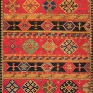 Modern Kazak Design - Red with Multi Colored Accents area rug
