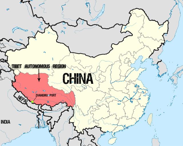 TAR china map - তিব্বত চীন দখল
